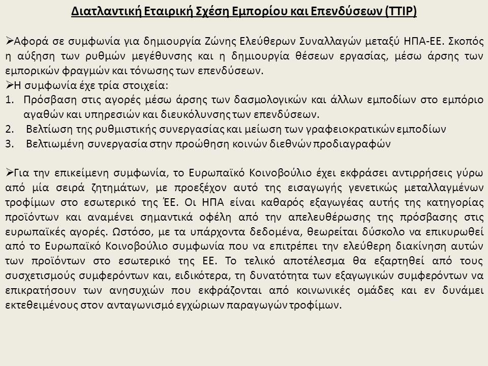 Διατλαντική Εταιρική Σχέση Εμπορίου και Επενδύσεων (TTIP)  Αφορά σε συμφωνία για δημιουργία Ζώνης Ελεύθερων Συναλλαγών μεταξύ ΗΠΑ-ΕΕ.