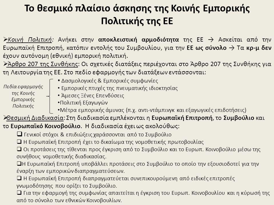 Το θεσμικό πλαίσιο άσκησης της Κοινής Εμπορικής Πολιτικής της ΕΕ  Κοινή Πολιτική: Ανήκει στην αποκλειστική αρμοδιότητα της ΕΕ → Ασκείται από την Ευρωπαϊκή Επιτροπή, κατόπιν εντολής του Συμβουλίου, για την ΕΕ ως σύνολο → Τα κρ-μ δεν έχουν αυτόνομη (εθνική) εμπορική πολιτική.