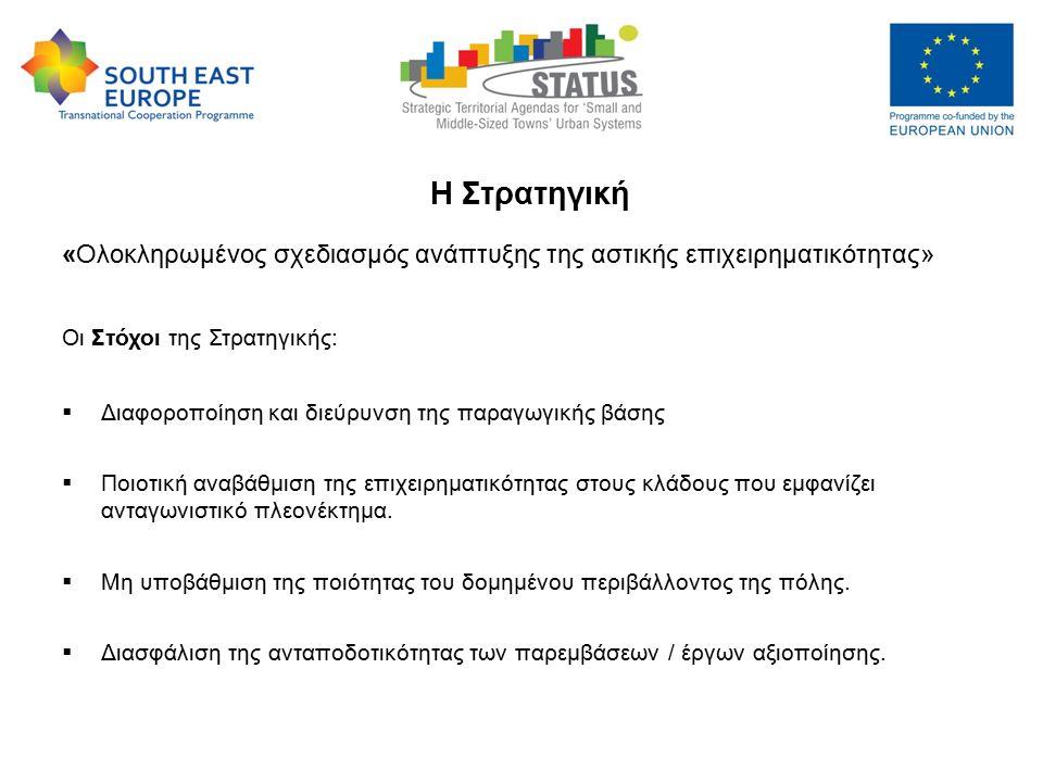 "Strategic Territorial Agendas for ""Small and Medium-sized Towns Urban Systems – STATUS, 9-10 May 2013 Η Στρατηγική «Ολοκληρωμένος σχεδιασμός ανάπτυξης της αστικής επιχειρηματικότητας» Οι Στόχοι της Στρατηγικής:  Διαφοροποίηση και διεύρυνση της παραγωγικής βάσης  Ποιοτική αναβάθμιση της επιχειρηματικότητας στους κλάδους που εμφανίζει ανταγωνιστικό πλεονέκτημα."