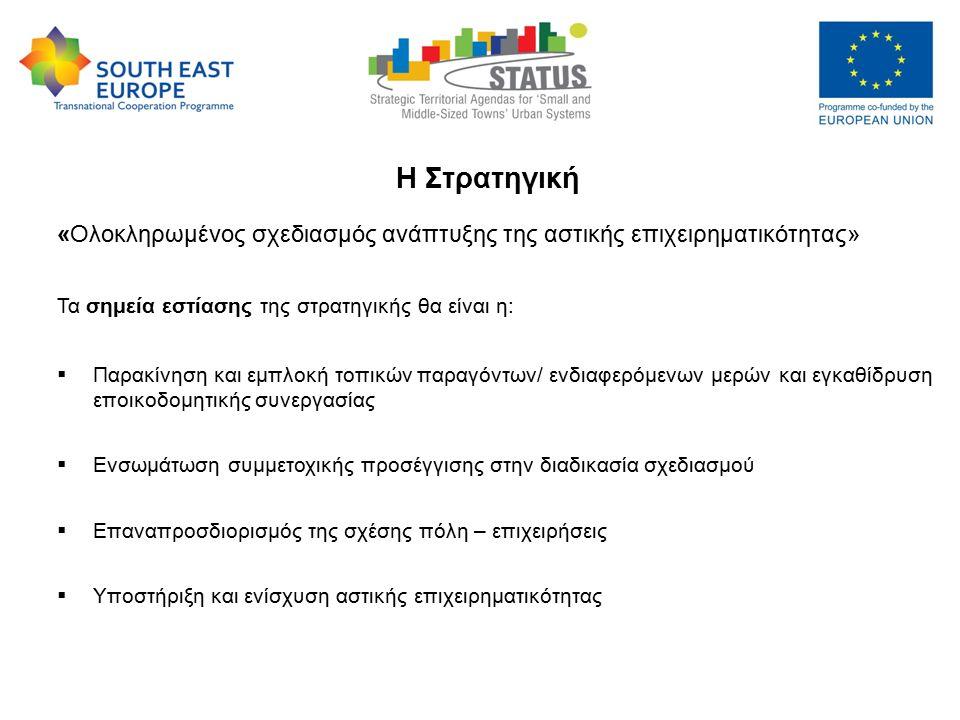"Strategic Territorial Agendas for ""Small and Medium-sized Towns Urban Systems – STATUS, 9-10 May 2013 Η Στρατηγική «Ολοκληρωμένος σχεδιασμός ανάπτυξης της αστικής επιχειρηματικότητας» Τα σημεία εστίασης της στρατηγικής θα είναι η:  Παρακίνηση και εμπλοκή τοπικών παραγόντων/ ενδιαφερόμενων μερών και εγκαθίδρυση εποικοδομητικής συνεργασίας  Ενσωμάτωση συμμετοχικής προσέγγισης στην διαδικασία σχεδιασμού  Επαναπροσδιορισμός της σχέσης πόλη – επιχειρήσεις  Υποστήριξη και ενίσχυση αστικής επιχειρηματικότητας"