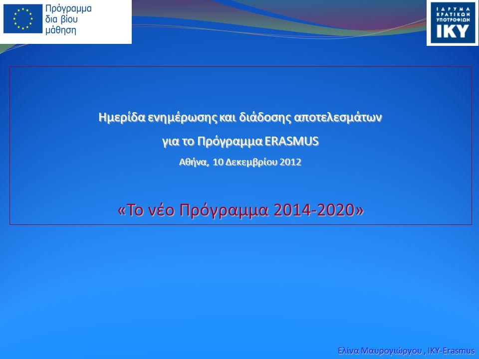 Ημερίδα ενημέρωσης και διάδοσης αποτελεσμάτων για το Πρόγραμμα ERASMUS Aθήνα, 10 Δεκεμβρίου 2012 «Το νέο Πρόγραμμα 2014-2020» Ελίνα Μαυρογιώργου, IKY-Erasmus