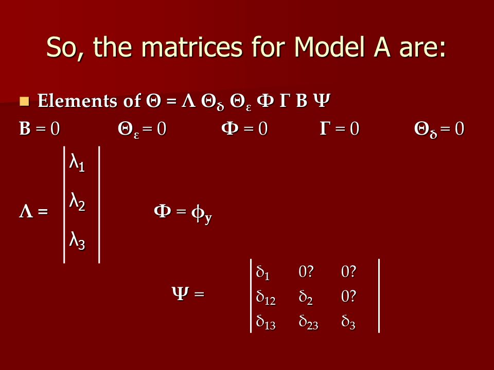 So, the matrices for Model A are: Elements of Θ = Λ Θ δ Θ ε Φ Γ Β Ψ Elements of Θ = Λ Θ δ Θ ε Φ Γ Β Ψ Β = 0Θ ε = 0 Φ = 0 Γ = 0 Θ δ = 0 Λ = Φ = φ y Ψ =