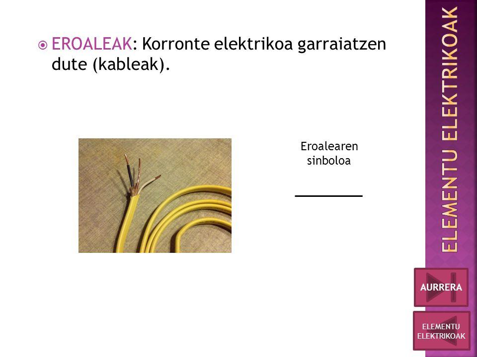  EROALEAK: Korronte elektrikoa garraiatzen dute (kableak).