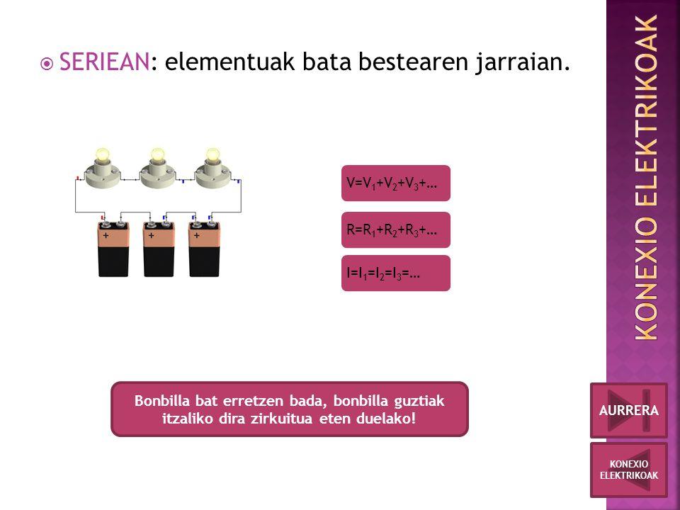  SERIEAN: elementuak bata bestearen jarraian.
