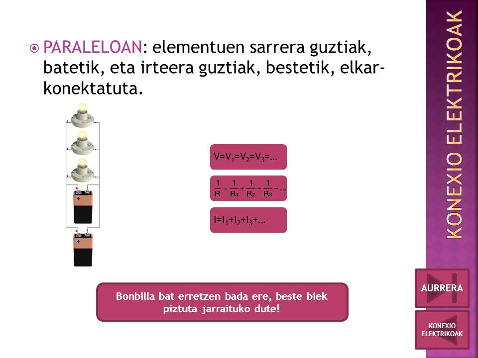 PARALELOAN: elementuen sarrera guztiak, batetik, eta irteera guztiak, bestetik, elkar- konektatuta.