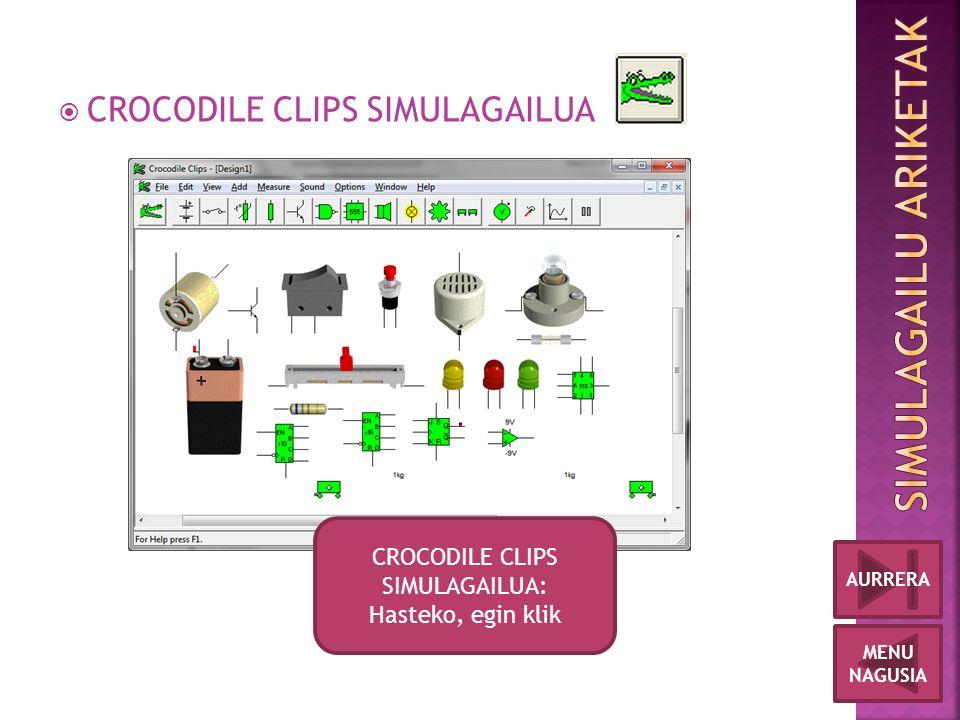  CROCODILE CLIPS SIMULAGAILUA MENU NAGUSIA AURRERA CROCODILE CLIPS SIMULAGAILUA: Hasteko, egin klik