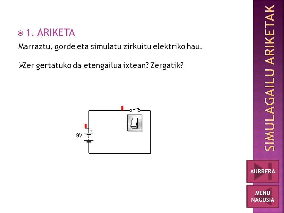  1. ARIKETA MENU NAGUSIA AURRERA Marraztu, gorde eta simulatu zirkuitu elektriko hau.