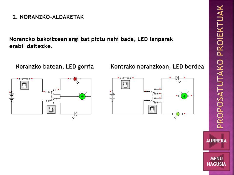 Noranzko batean, LED gorriaKontrako noranzkoan, LED berdea Noranzko bakoitzean argi bat piztu nahi bada, LED lanparak erabil daitezke.