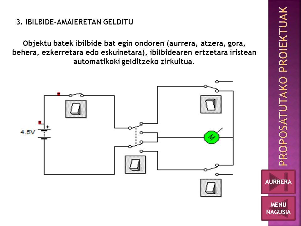 3. IBILBIDE-AMAIERETAN GELDITU Objektu batek ibilbide bat egin ondoren (aurrera, atzera, gora, behera, ezkerretara edo eskuinetara), ibilbidearen ertz