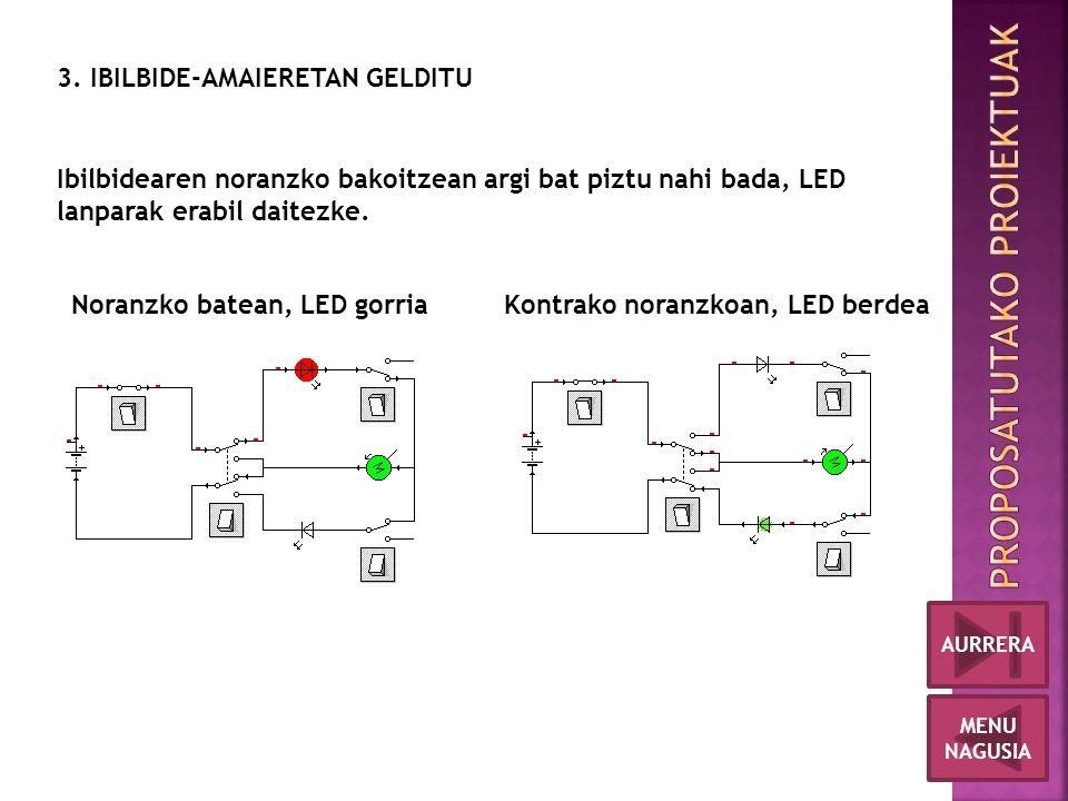 Noranzko batean, LED gorriaKontrako noranzkoan, LED berdea Ibilbidearen noranzko bakoitzean argi bat piztu nahi bada, LED lanparak erabil daitezke.