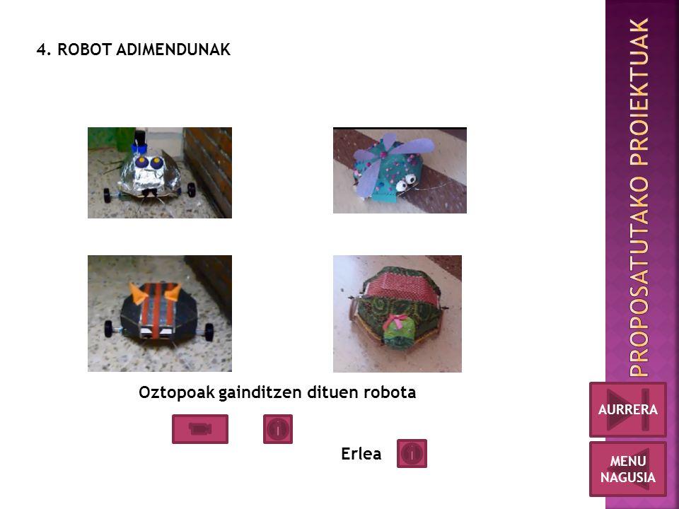 4. ROBOT ADIMENDUNAK Oztopoak gainditzen dituen robota Erlea MENU NAGUSIA AURRERA