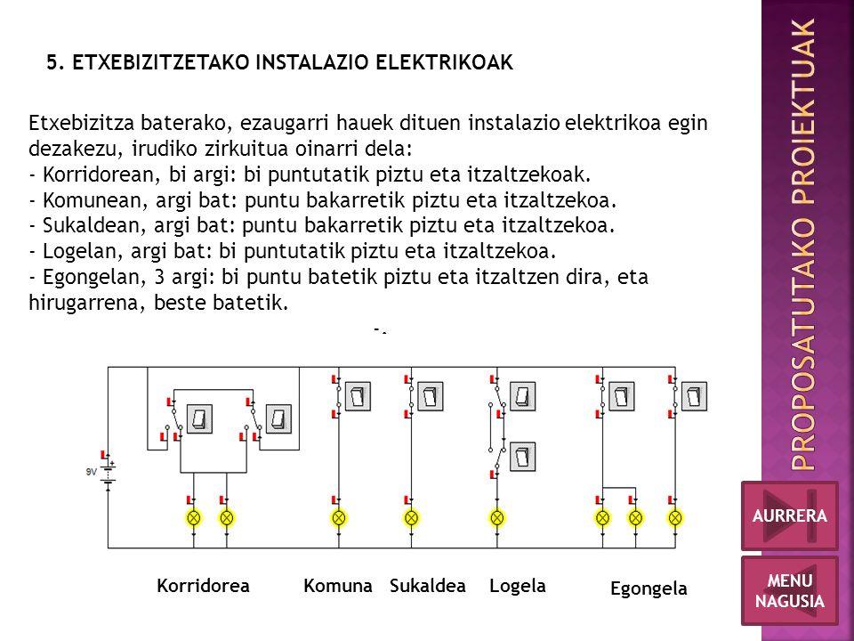 5. ETXEBIZITZETAKO INSTALAZIO ELEKTRIKOAK Korridorea KomunaSukaldeaLogela Egongela Etxebizitza baterako, ezaugarri hauek dituen instalazio elektrikoa