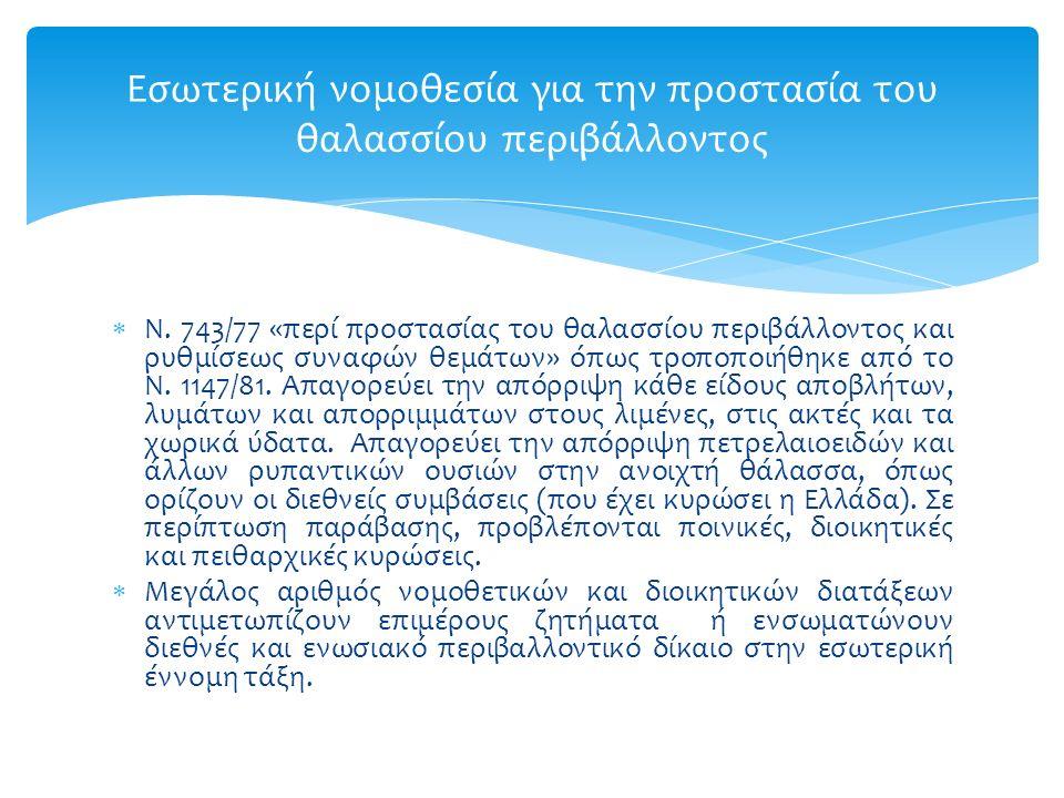  Ν. 743/77 «περί προστασίας του θαλασσίου περιβάλλοντος και ρυθμίσεως συναφών θεμάτων» όπως τροποποιήθηκε από το Ν. 1147/81. Απαγορεύει την απόρριψη