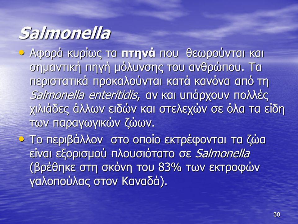 30 Salmonella Αφορά κυρίως τα πτηνά που θεωρούνται και σημαντική πηγή μόλυνσης του ανθρώπου. Τα περιστατικά προκαλούνται κατά κανόνα από τη Salmonella