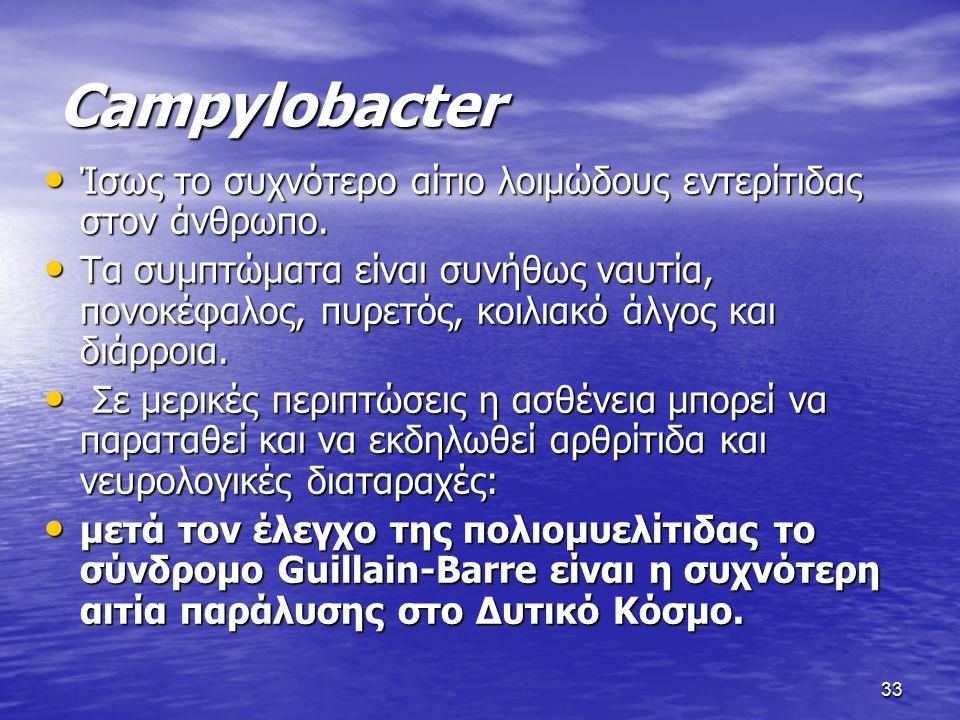 33 Campylobacter Ίσως το συχνότερο αίτιο λοιμώδους εντερίτιδας στον άνθρωπο.
