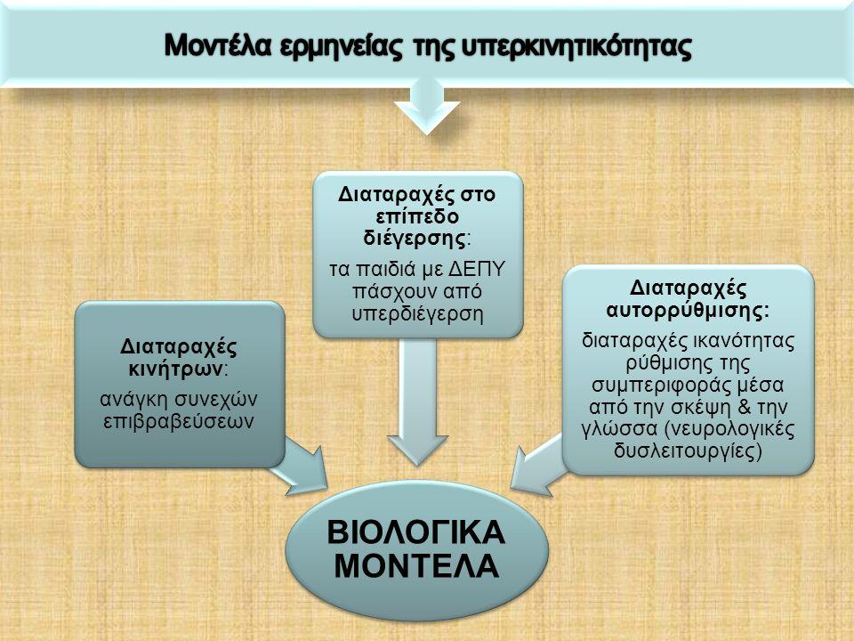 ΒΙΟΛΟΓΙΚΑ ΜΟΝΤΕΛΑ Διαταραχές στην αναστολή της συμπεριφοράς: αδυναμία μετάθεσης των αντιδράσεις τους (σε γνωστικές & γλωσσικές διαταραχές) νευρολογικές δυσλειτουργίες Διαταραχές Ψυχοσυναισθηματική ανάπτυξη /ανωριμότητα: έλλειψη εσωτερίκευσης κανόνων ορίων, αδυναμία ανάπτυξης συνθετικών δεξιοτήτων & δεξιοτήτων αυτοελέγχου τείνει να ισχύει το ΠΟΛΥΠΑΡΑΓΟΝΤΙΚΟ ΜΟΝΤΕΛΟ τείνει να ισχύει το ΠΟΛΥΠΑΡΑΓΟΝΤΙΚΟ ΜΟΝΤΕΛΟ