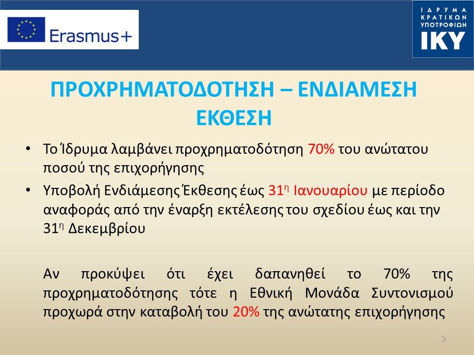 ΠΡΟΧΡΗΜΑΤΟΔΟΤΗΣΗ – ΕΝΔΙΑΜΕΣΗ ΕΚΘΕΣΗ Το Ίδρυμα λαμβάνει προχρηματοδότηση 70% του ανώτατου ποσού της επιχορήγησης Υποβολή Ενδιάμεσης Έκθεσης έως 31 η Ιανουαρίου με περίοδο αναφοράς από την έναρξη εκτέλεσης του σχεδίου έως και την 31 η Δεκεμβρίου Αν προκύψει ότι έχει δαπανηθεί το 70% της προχρηματοδότησης τότε η Εθνική Μονάδα Συντονισμού προχωρά στην καταβολή του 20% της ανώτατης επιχορήγησης 3