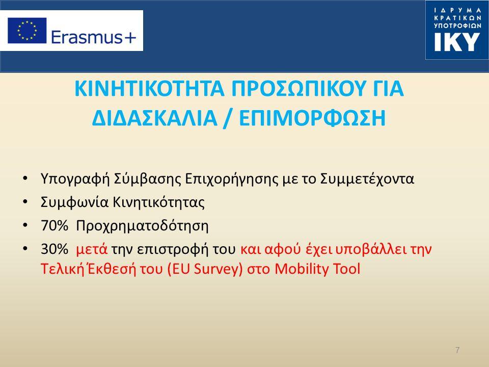 7 ΚΙΝΗΤΙΚΟΤΗΤΑ ΠΡΟΣΩΠΙΚΟΥ ΓΙΑ ΔΙΔΑΣΚΑΛΙΑ / ΕΠΙΜΟΡΦΩΣΗ Υπογραφή Σύμβασης Επιχορήγησης με το Συμμετέχοντα Συμφωνία Κινητικότητας 70% Προχρηματοδότηση 30% μετά την επιστροφή του και αφού έχει υποβάλλει την Τελική Έκθεσή του (EU Survey) στο Mobility Tool