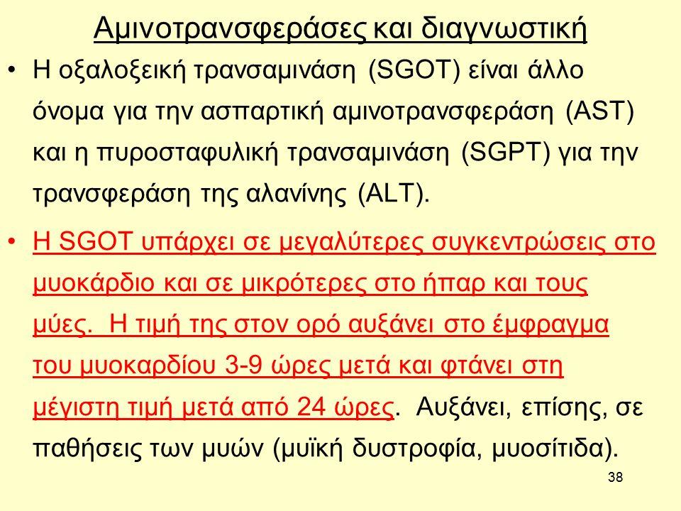 38 Αμινοτρανσφεράσες και διαγνωστική Η οξαλοξεική τρανσαμινάση (SGOT) είναι άλλο όνομα για την ασπαρτική αμινοτρανσφεράση (AST) και η πυροσταφυλική τρανσαμινάση (SGPT) για την τρανσφεράση της αλανίνης (ALT).