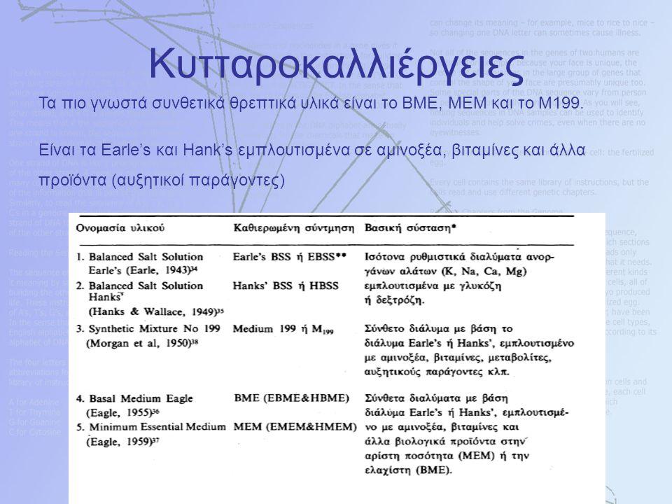 Τα πιο γνωστά συνθετικά θρεπτικά υλικά είναι το ΒΜΕ, ΜΕΜ και το Μ199. Είναι τα Earle's και Hank's εμπλουτισμένα σε αμινοξέα, βιταμίνες και άλλα προϊόν