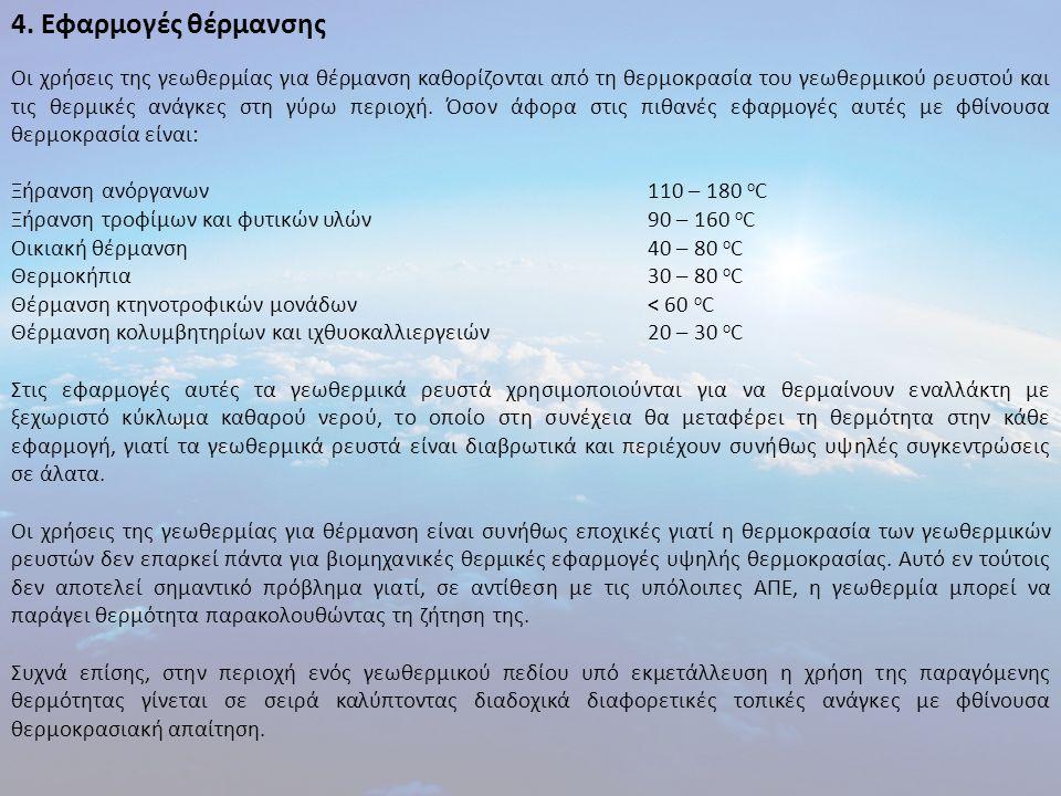 4. Εφαρμογές θέρμανσης Οι χρήσεις της γεωθερμίας για θέρμανση καθορίζονται από τη θερμοκρασία του γεωθερμικού ρευστού και τις θερμικές ανάγκες στη γύρ