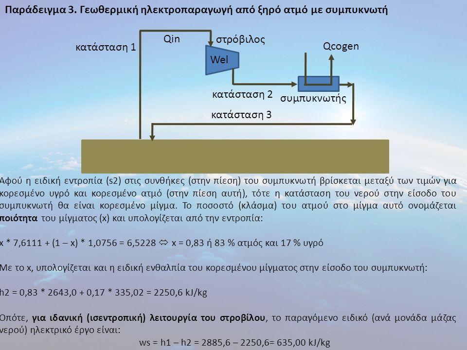 Παράδειγμα 3. Γεωθερμική ηλεκτροπαραγωγή από ξηρό ατμό με συμπυκνωτή Αφού η ειδική εντροπία (s2) στις συνθήκες (στην πίεση) του συμπυκνωτή βρίσκεται μ