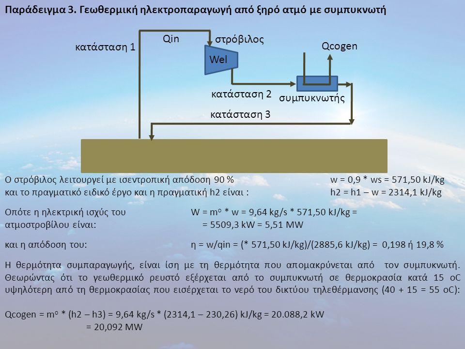 Παράδειγμα 3. Γεωθερμική ηλεκτροπαραγωγή από ξηρό ατμό με συμπυκνωτή Ο στρόβιλος λειτουργεί με ισεντροπική απόδοση 90 % w = 0,9 * ws = 571,50 kJ/kg κα