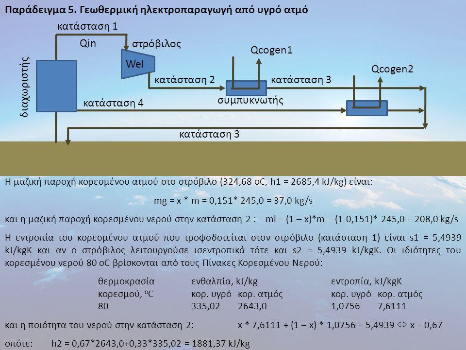 Παράδειγμα 5. Γεωθερμική ηλεκτροπαραγωγή από υγρό ατμό Η μαζική παροχή κορεσμένου ατμού στο στρόβιλο (324,68 οC, h1 = 2685,4 kJ/kg) είναι: mg = x * m