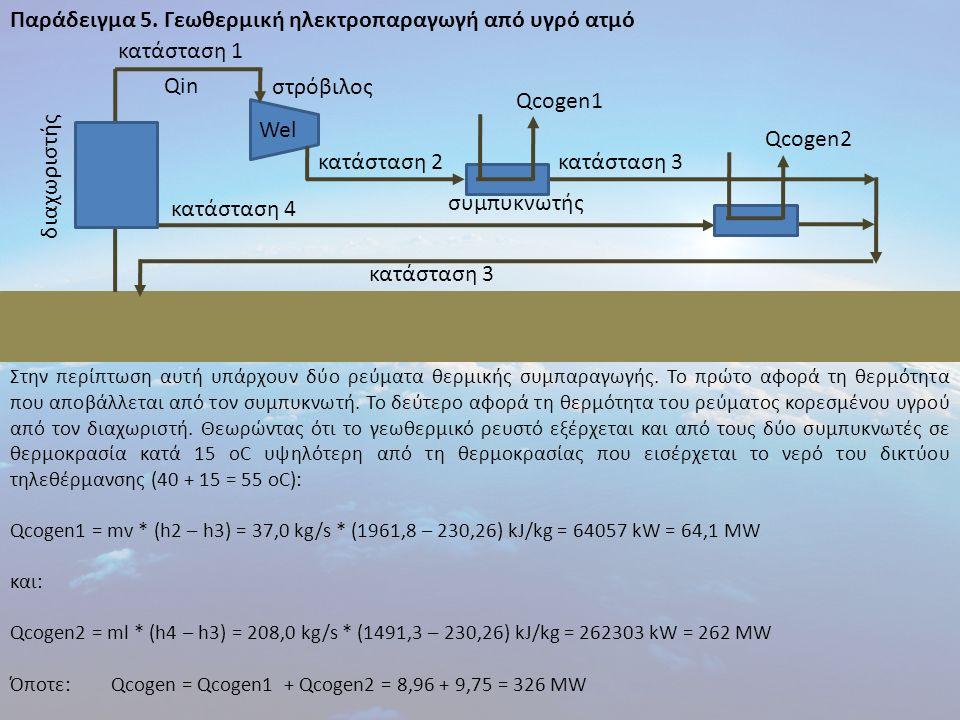 Παράδειγμα 5. Γεωθερμική ηλεκτροπαραγωγή από υγρό ατμό Στην περίπτωση αυτή υπάρχουν δύο ρεύματα θερμικής συμπαραγωγής. Το πρώτο αφορά τη θερμότητα που