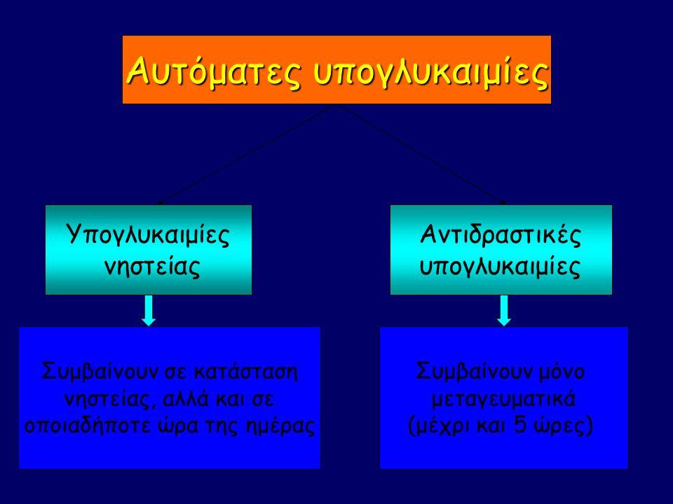 Υπογλυκαιμίες νηστείας Αντιδραστικές υπογλυκαιμίες Αυτόματες υπογλυκαιμίες Συμβαίνουν σε κατάσταση νηστείας, αλλά και σε οποιαδήποτε ώρα της ημέρας Συμβαίνουν μόνο μεταγευματικά (μέχρι και 5 ώρες)