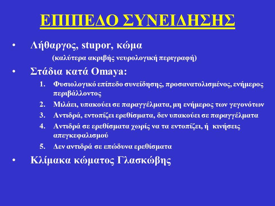 ΕΠΙΠΕΔΟ ΣΥΝΕΙΔΗΣΗΣ Λήθαργος, stupor, κώμα (καλύτερα ακριβής νευρολογική περιγραφή) Στάδια κατά Omaya: 1.Φυσιολογικό επίπεδο συνείδησης, προσανατολισμένος, ενήμερος περιβάλλοντος 2.Μιλάει, υπακούει σε παραγγέλματα, μη ενήμερος των γεγονότων 3.Αντιδρά, εντοπίζει ερεθίσματα, δεν υπακούει σε παραγγέλματα 4.Αντιδρά σε ερεθίσματα χωρίς να τα εντοπίζει, ή κινήσεις απεγκεφαλισμού 5.Δεν αντιδρά σε επώδυνα ερεθίσματα Κλίμακα κώματος Γλασκώβης