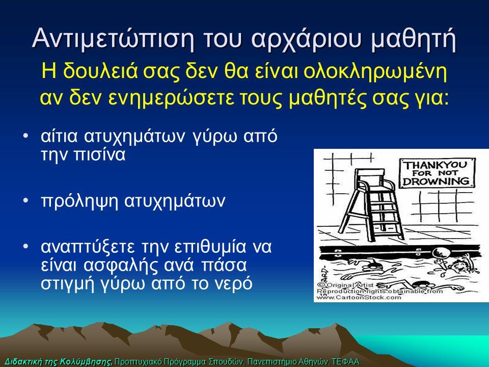 Διδακτική της Κολύμβησης, Προπτυχιακό Πρόγραμμα Σπουδών, Πανεπιστήμιο Αθηνών, ΤΕΦΑΑ. Η δουλειά σας δεν θα είναι ολοκληρωμένη αν δεν ενημερώσετε τους μ