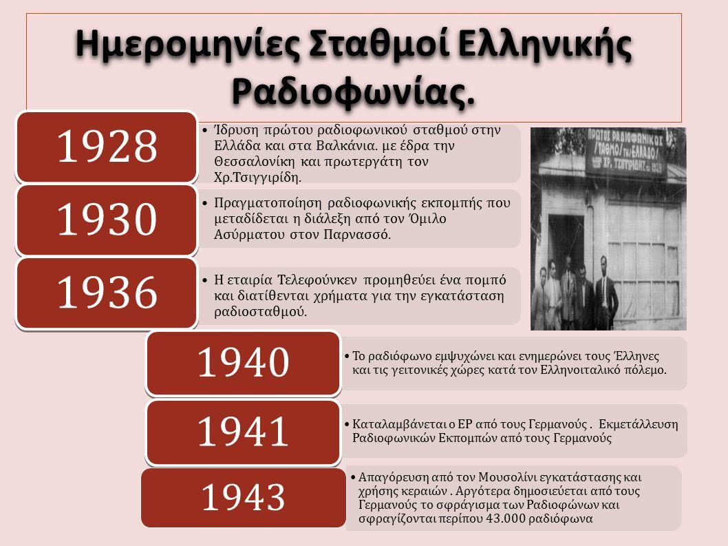 Ημερομηνίες Σταθμοί Ελληνικής Ραδιοφωνίας. Ίδρυση πρώτου ραδιοφωνικού σταθμού στην Ελλάδα και στα Βαλκάνια. με έδρα την Θεσσαλονίκη και πρωτεργάτη τον