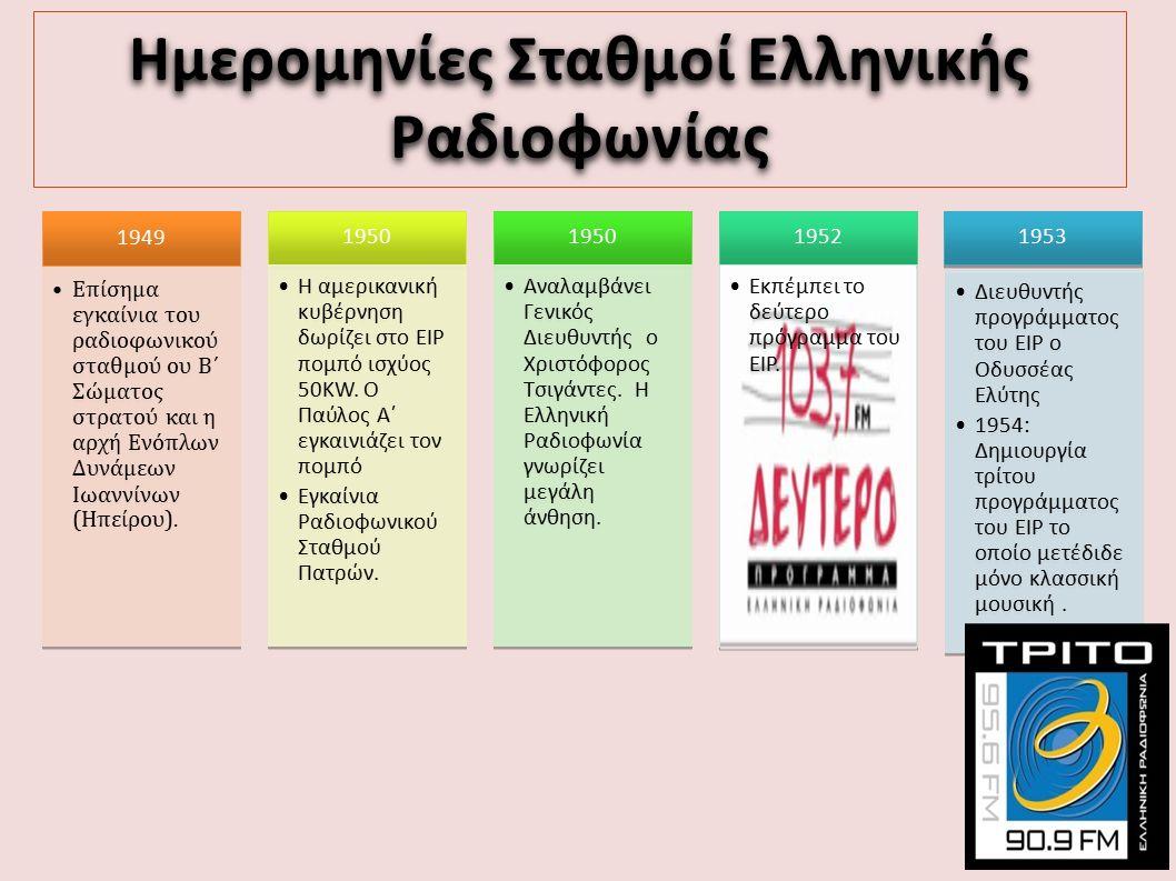 Ημερομηνίες Σταθμοί Ελληνικής Ραδιοφωνίας 1953 Διευθυντής προγράμματος του ΕΙΡ ο Οδυσσέας Ελύτης 1954: Δημιουργία τρίτου προγράμματος του ΕΙΡ το οποίο