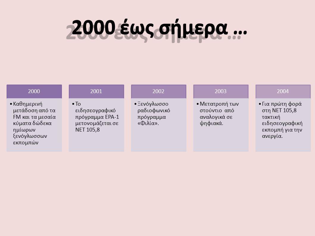 2000 έως σήμερα … 2000 Καθημερινή μετάδοση από τα FM και τα μεσαία κύματα δώδεκα ημίωρων ξενόγλωσσων εκπομπών 2001 Το ειδησεογραφικό πρόγραμμα ΕΡΑ-1 μ