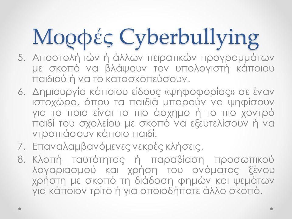 Μορφές Cyberbullying 5.Αποστολή ιών ή άλλων πειρατικών προγραμμάτων με σκοπό να βλάψουν τον υπολογιστή κάποιου παιδιού ή να το κατασκοπεύσουν. 6.Δημιο