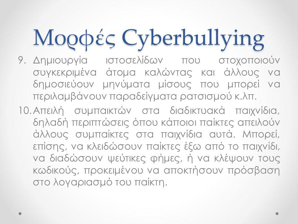 Μορφές Cyberbullying 9.Δημιουργία ιστοσελίδων που στοχοποιούν συγκεκριμένα άτομα καλώντας και άλλους να δημοσιεύουν μηνύματα μίσους που μπορεί να περι
