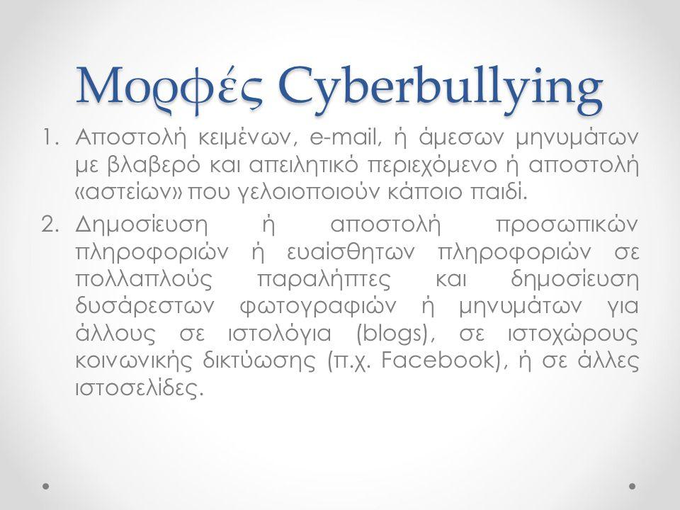Μορφές Cyberbullying 1.Αποστολή κειμένων, e-mail, ή άμεσων μηνυμάτων με βλαβερό και απειλητικό περιεχόμενο ή αποστολή «αστείων» που γελοιοποιούν κάποι