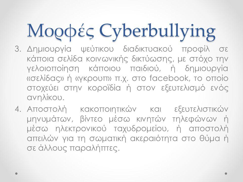 Μορφές Cyberbullying 3.Δημιουργία ψεύτικου διαδικτυακού προφίλ σε κάποια σελίδα κοινωνικής δικτύωσης, με στόχο την γελοιοποίηση κάποιου παιδιού, ή δημ