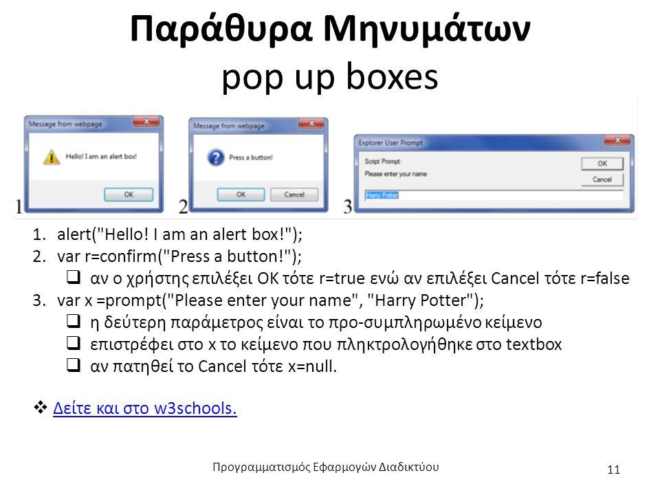 Παράθυρα Μηνυμάτων pop up boxes 1.alert( Hello.