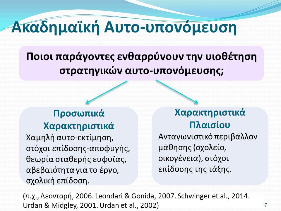 Ακαδημαϊκή Αυτο-υπονόμευση 17 Ποιοι παράγοντες ενθαρρύνουν την υιοθέτηση στρατηγικών αυτο-υπονόμευσης; Χαρακτηριστικά Πλαισίου Ανταγωνιστικό περιβάλλον μάθησης (σχολείο, οικογένεια), στόχοι επίδοσης της τάξης.