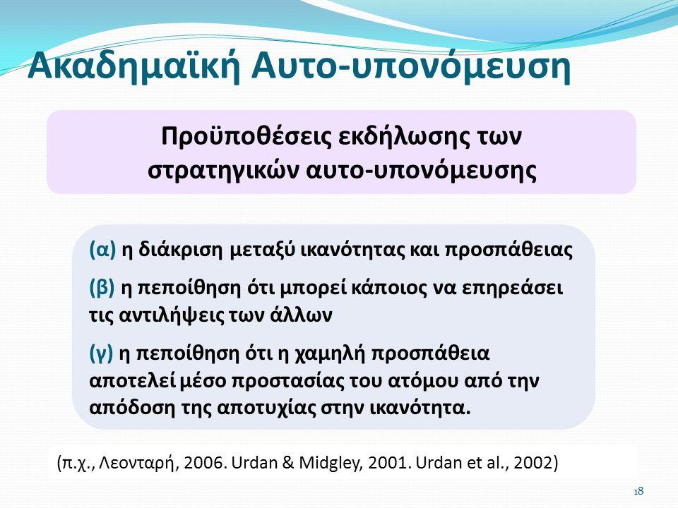 Ακαδημαϊκή Αυτο-υπονόμευση 18 Προϋποθέσεις εκδήλωσης των στρατηγικών αυτο-υπονόμευσης (π.χ., Λεονταρή, 2006.