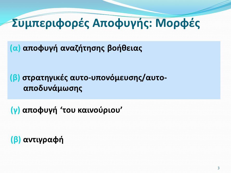 Συμπεριφορές Αποφυγής: Μορφές (α) αποφυγή αναζήτησης βοήθειας (β) στρατηγικές αυτο-υπονόμευσης/αυτο- αποδυνάμωσης 3 (γ) αποφυγή 'του καινούριου' (β) αντιγραφή