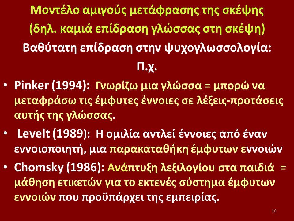 10 Μοντέλο αμιγούς μετάφρασης της σκέψης (δηλ. καμιά επίδραση γλώσσας στη σκέψη) Βαθύτατη επίδραση στην ψυχογλωσσολογία: Π.χ. Pinker (1994): Γνωρίζω μ