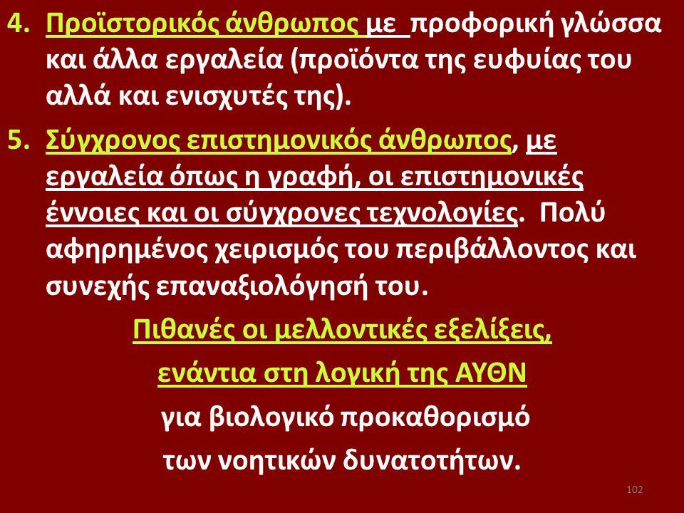 4.Προϊστορικός άνθρωπος με προφορική γλώσσα και άλλα εργαλεία (προϊόντα της ευφυίας του αλλά και ενισχυτές της). 5.Σύγχρονος επιστημονικός άνθρωπος, μ