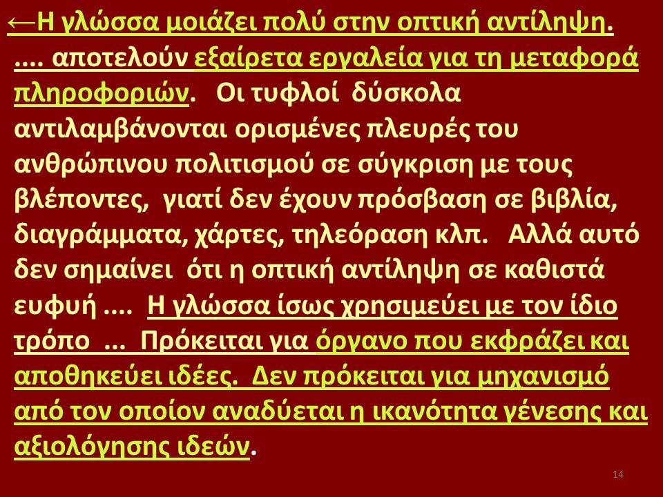 14 ← Η γλώσσα μοιάζει πολύ στην οπτική αντίληψη..... αποτελούν εξαίρετα εργαλεία για τη μεταφορά πληροφοριών. Οι τυφλοί δύσκολα αντιλαμβάνονται ορισμέ