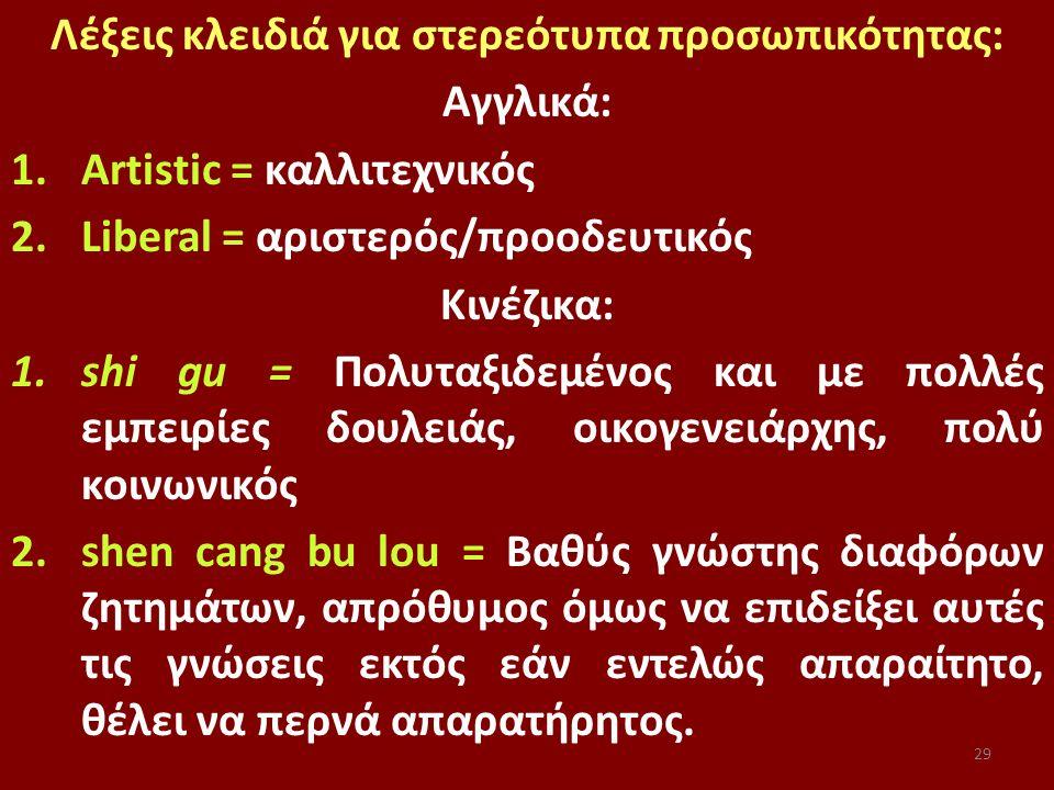 29 Λέξεις κλειδιά για στερεότυπα προσωπικότητας: Αγγλικά: 1.Artistic = καλλιτεχνικός 2.Liberal = αριστερός/προοδευτικός Κινέζικα: 1.shi gu = Πολυταξιδεμένος και με πολλές εμπειρίες δουλειάς, οικογενειάρχης, πολύ κοινωνικός 2.shen cang bu lou = Βαθύς γνώστης διαφόρων ζητημάτων, απρόθυμος όμως να επιδείξει αυτές τις γνώσεις εκτός εάν εντελώς απαραίτητο, θέλει να περνά απαρατήρητος.