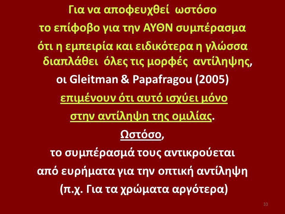 Για να αποφευχθεί ωστόσο το επίφοβο για την ΑΥΘΝ συμπέρασμα ότι η εμπειρία και ειδικότερα η γλώσσα διαπλάθει όλες τις μορφές αντίληψης, οι Gleitman & Papafragou (2005) επιμένουν ότι αυτό ισχύει μόνο στην αντίληψη της ομιλίας.