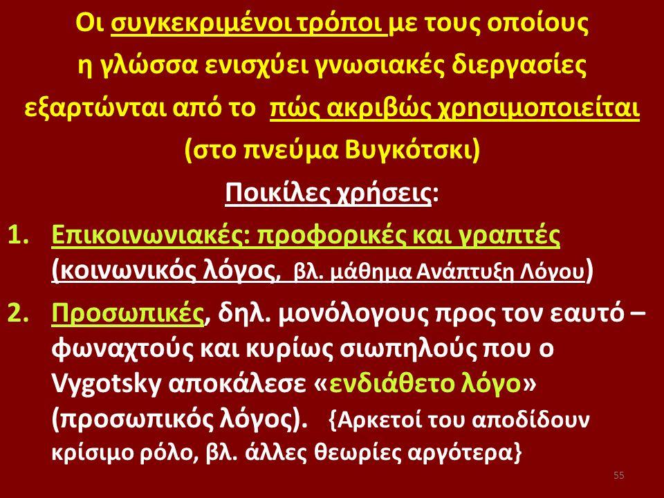 55 Οι συγκεκριμένοι τρόποι με τους οποίους η γλώσσα ενισχύει γνωσιακές διεργασίες εξαρτώνται από το πώς ακριβώς χρησιμοποιείται (στο πνεύμα Βυγκότσκι) Ποικίλες χρήσεις: 1.Επικοινωνιακές: προφορικές και γραπτές (κοινωνικός λόγος, βλ.