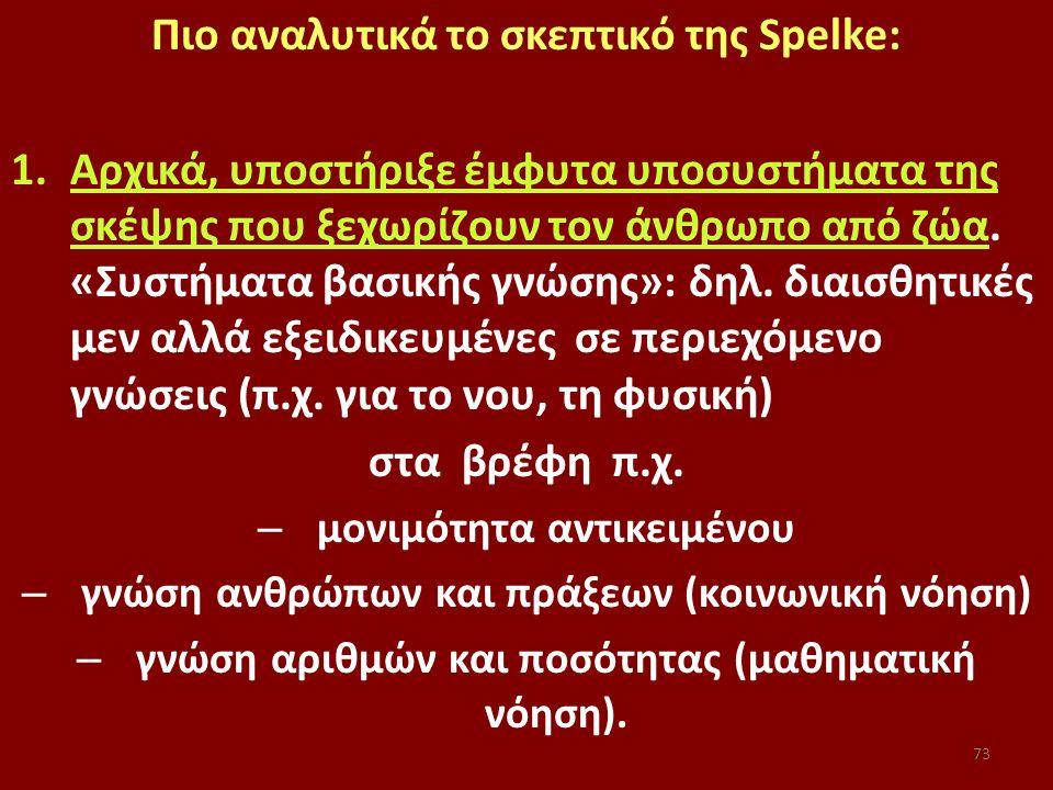 73 Πιο αναλυτικά το σκεπτικό της Spelke: 1.Αρχικά, υποστήριξε έμφυτα υποσυστήματα της σκέψης που ξεχωρίζουν τον άνθρωπο από ζώα.